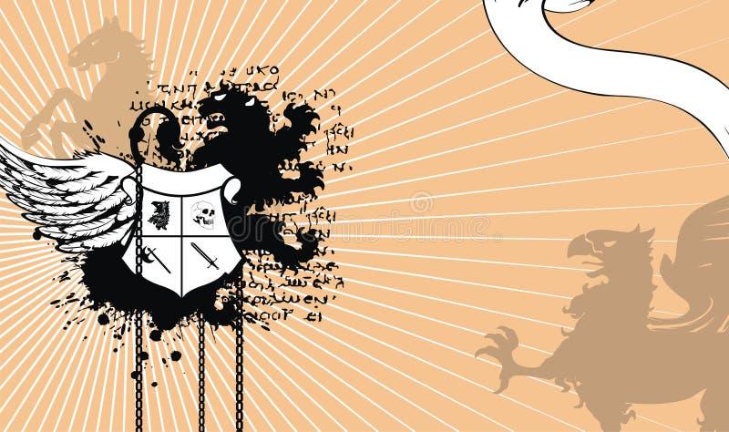 Cartão heráldico da crista da brasão ilustração stock