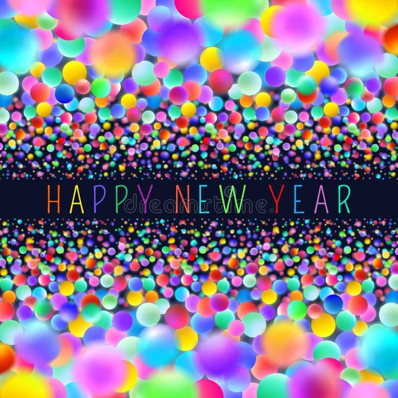 Cartão holográfico do ano novo com bolas de néon ilustração do vetor
