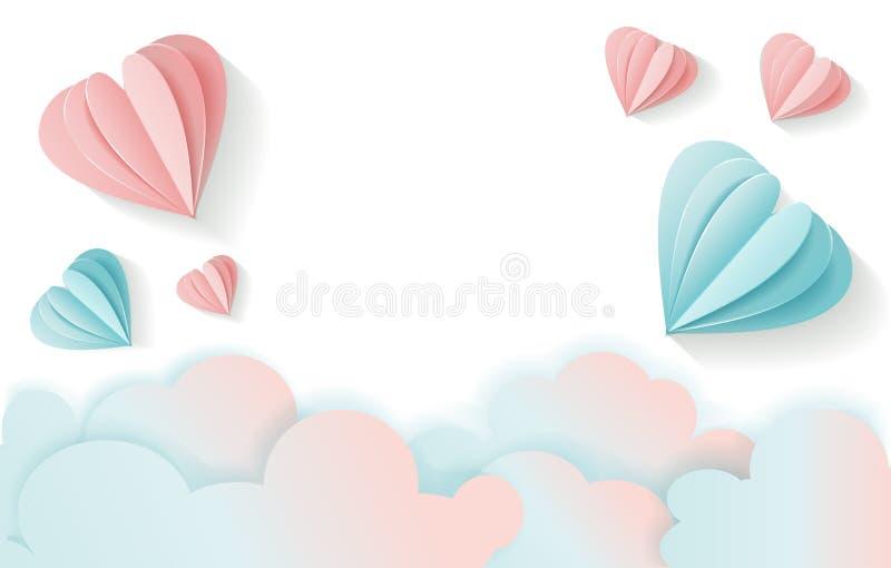 Cart?o horizontal do amor para o dia de Valentim com espa?o livre para seu texto rosa do voo 3D e cora??o de papel azul e nuvens  ilustração do vetor