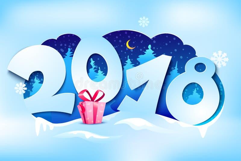 Cartão 2018, ilustração do ano novo do vetor ilustração do vetor