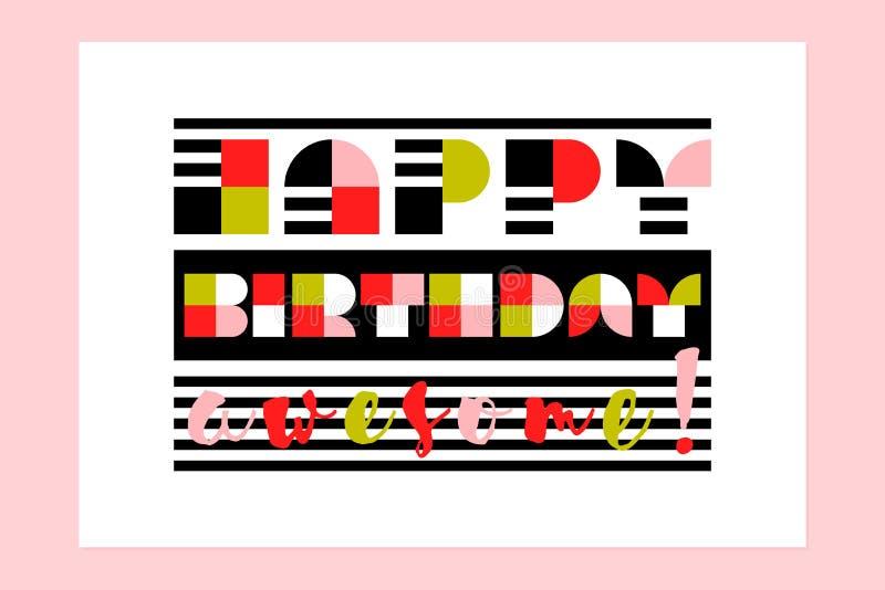 Cartão impressionante moderno do feliz aniversario com rotulação geométrica listrada do contemporâneo ilustração royalty free