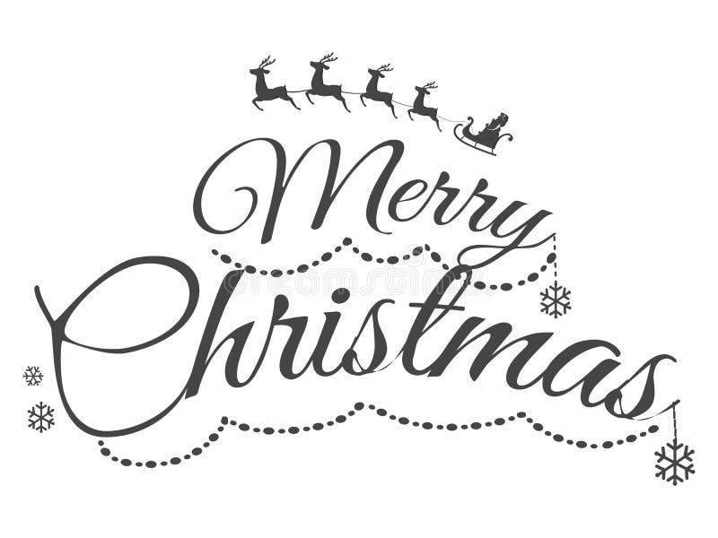 Cartão incolor do Feliz Natal com texto ilustração do vetor