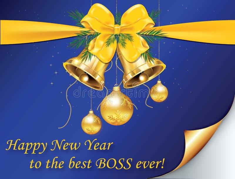 Cartão incorporado do ano novo para o chefe ilustração do vetor