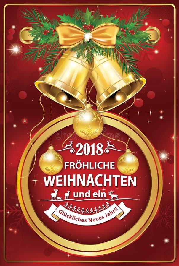 Cartão incorporado para a época natalícia 2018, com texto alemão ilustração stock