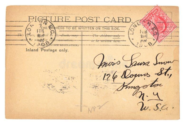 Cartão inglês do vintage (1908) fotografia de stock