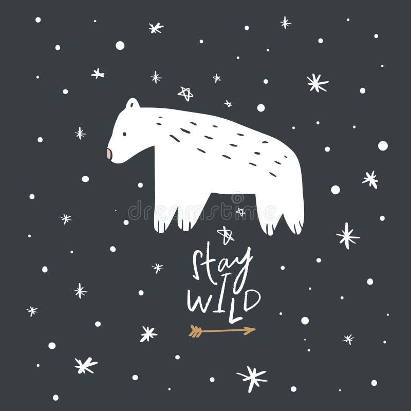 Cartão inspirado do berçário com o urso polar bonito ilustração royalty free