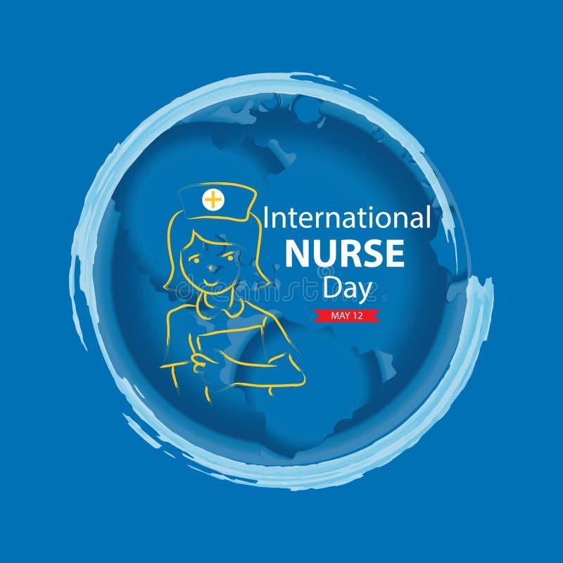 Cartão internacional do dia da enfermeira ilustração stock
