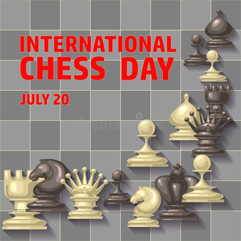 Cartão internacional do dia da xadrez 20 DE JULHO Cartaz do feriado ilustração royalty free