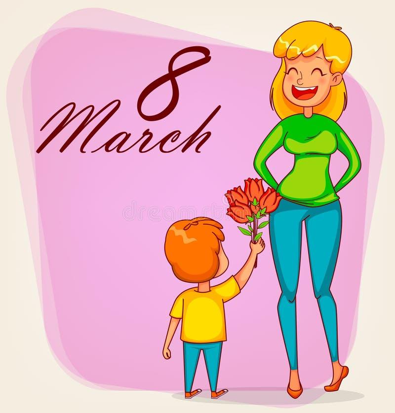 Cartão internacional feliz do dia do ` s das mulheres ilustração stock