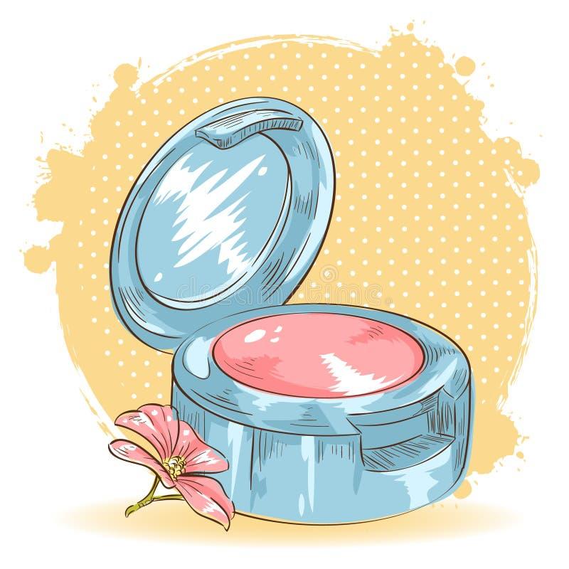 Cartão isolado blusher da composição de Skincare ilustração do vetor
