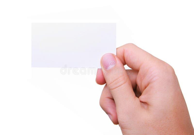 Cartão isolado da terra arrendada da mão foto de stock royalty free