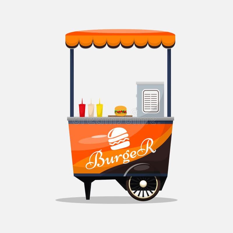 Cartão isolado, quiosque do fast food do hamburguer nas rodas ilustração do vetor