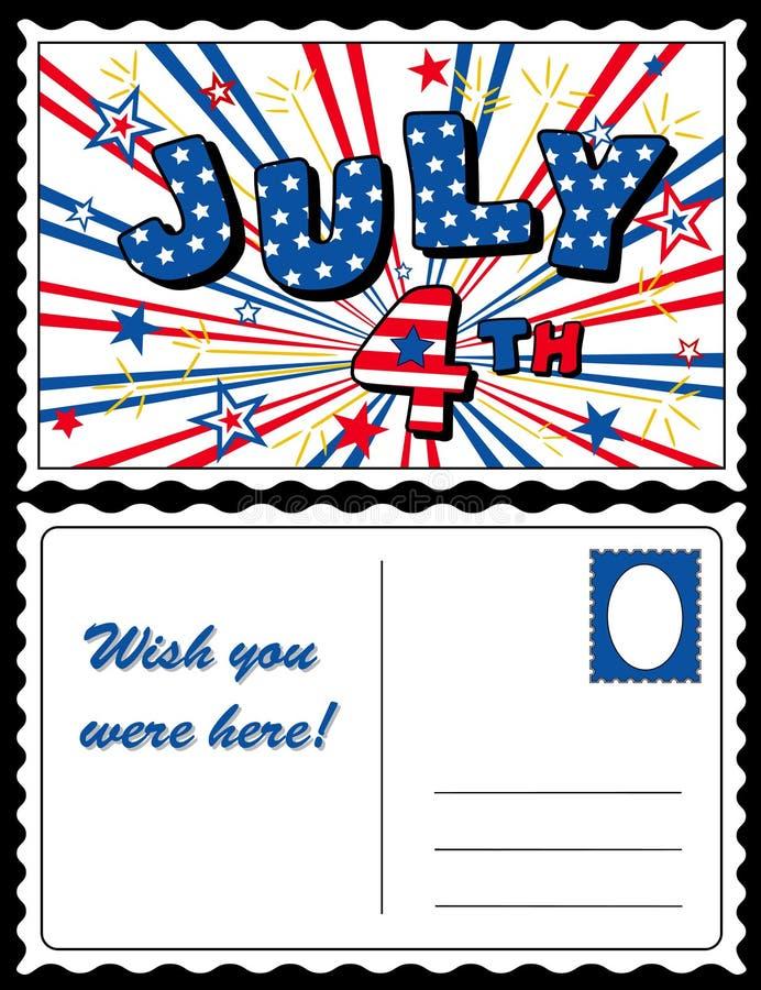 Cartão julho de ô ilustração do vetor