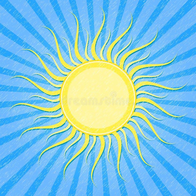 Cartão listrado azul de Grunge com Sun ilustração do vetor