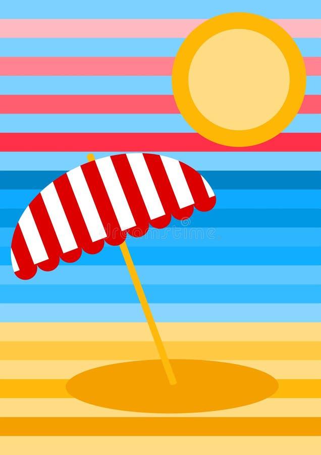 Cartão listrado da paisagem da praia ilustração royalty free