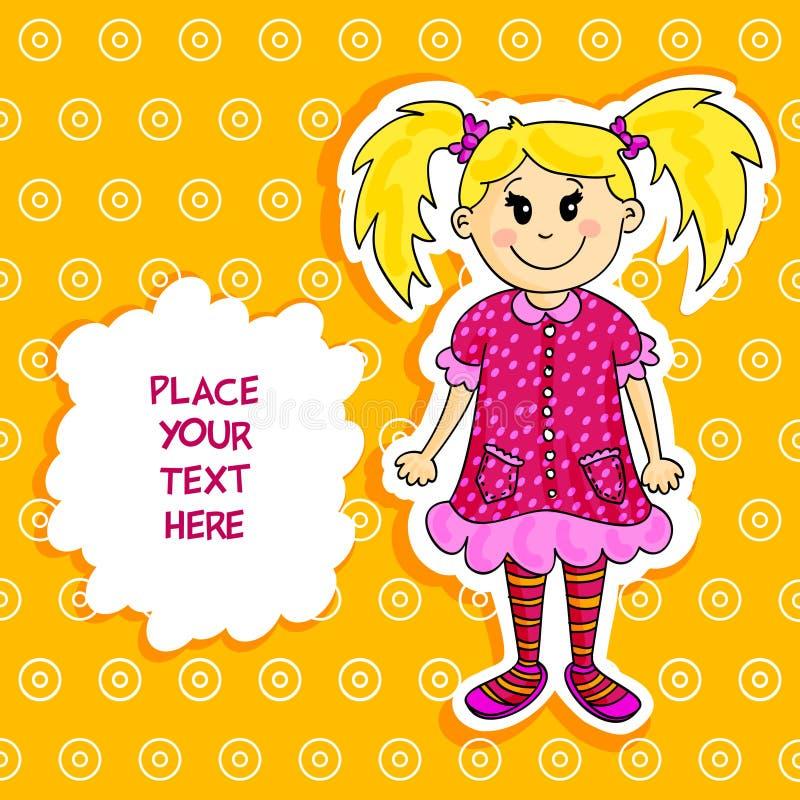 Cartão louro pequeno da menina ilustração royalty free