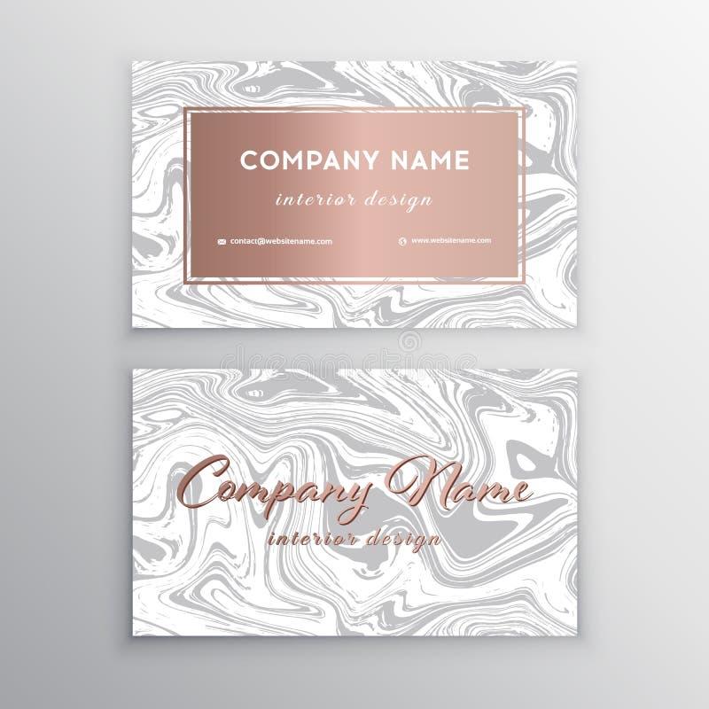 Cartão luxuoso com textura de mármore e linha geométrica ilustração do vetor