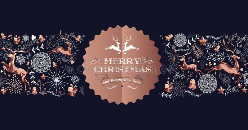 Cartão luxuoso de cobre da etiqueta dos cervos do Feliz Natal ilustração stock