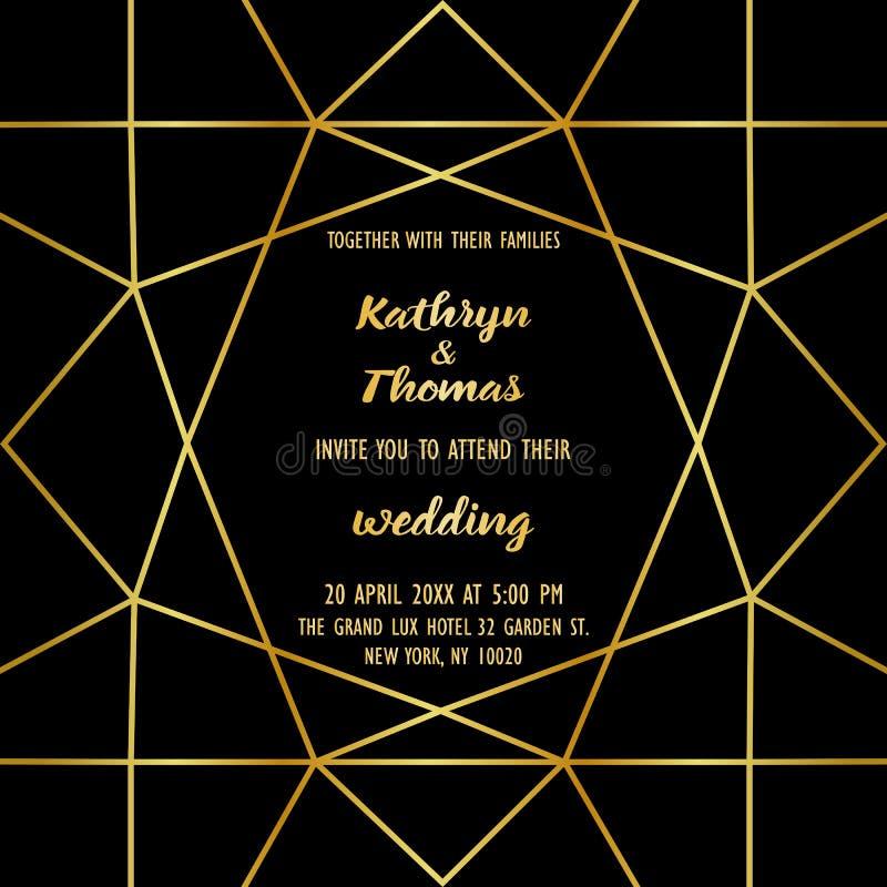 Cartão luxuoso do convite do casamento ilustração royalty free