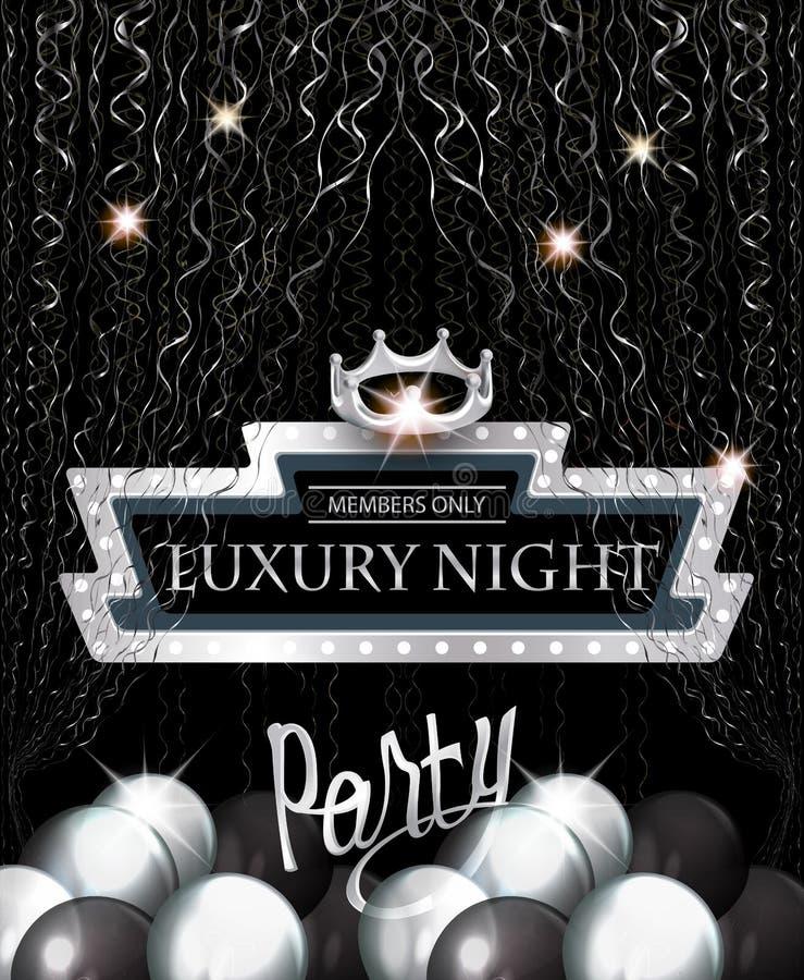 Cartão luxuoso do convite do partido da noite com quadro retro, a serpentina de prata, os balões de ar e a coroa ilustração royalty free