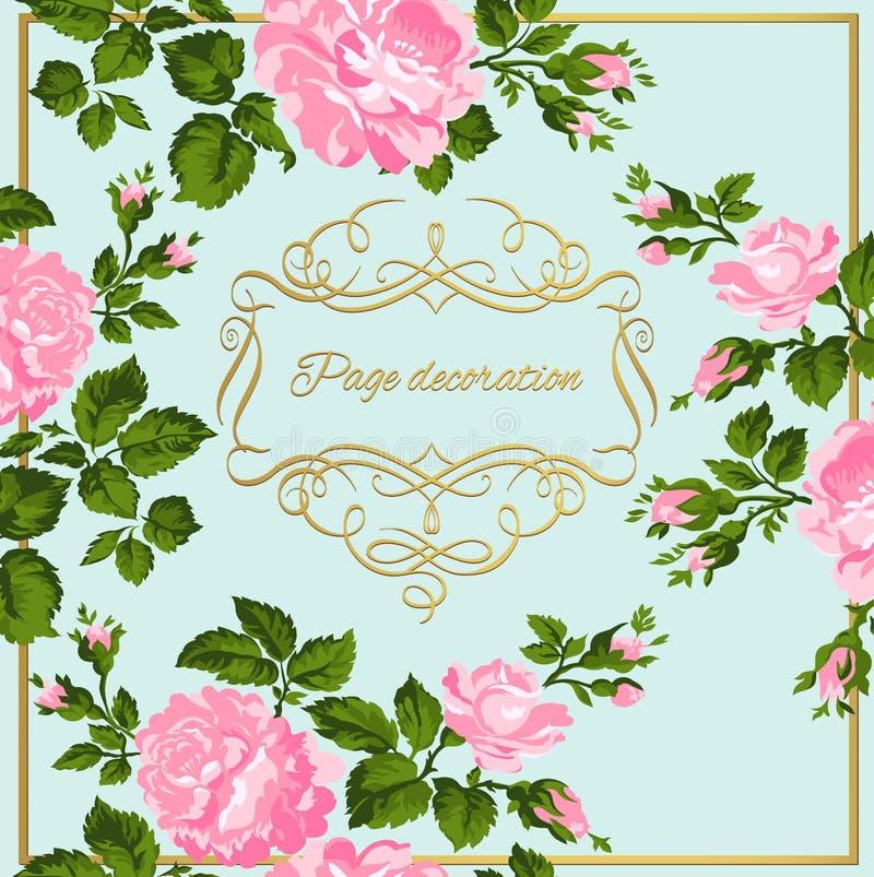 Cartão luxuoso do vintage de rosas cor-de-rosa com caligrafia do ouro Ilustração do vetor ilustração do vetor
