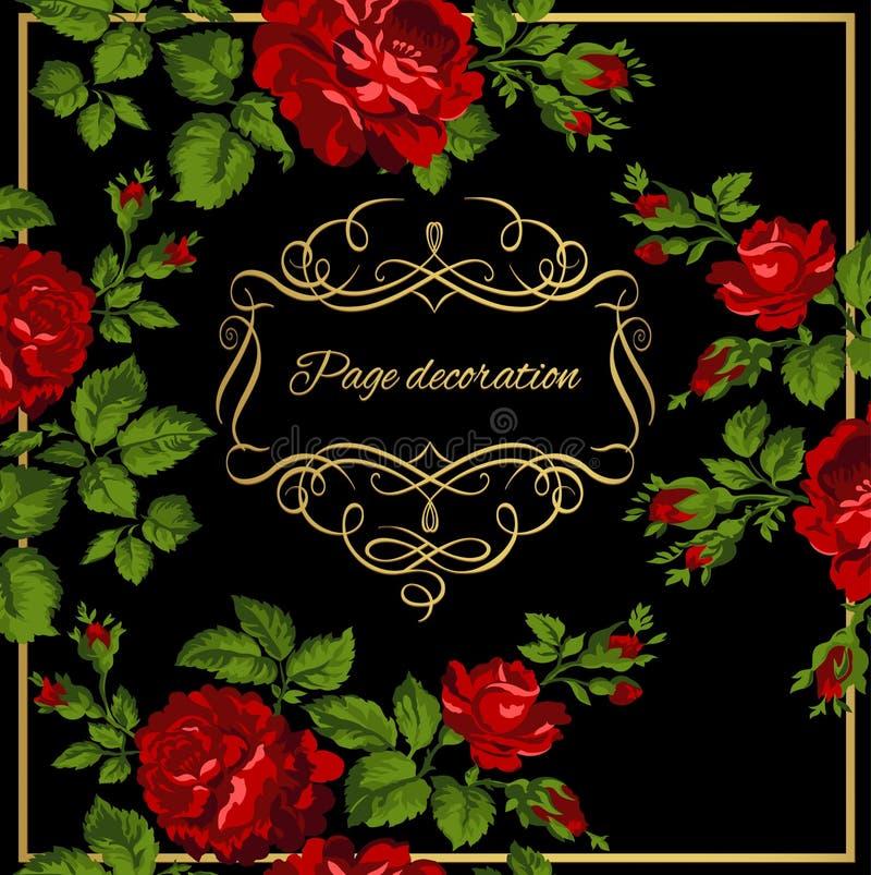 Cartão luxuoso do vintage de rosas vermelhas com caligrafia do ouro Ilustração do vetor ilustração stock