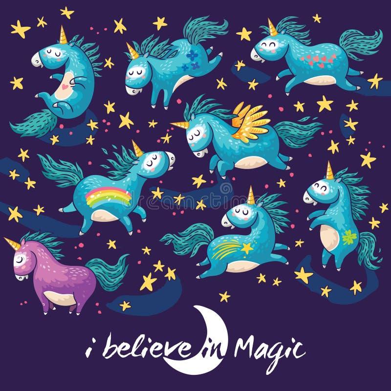 Cartão mágico com unicórnio bonito Ilustração dos desenhos animados do vetor ilustração stock