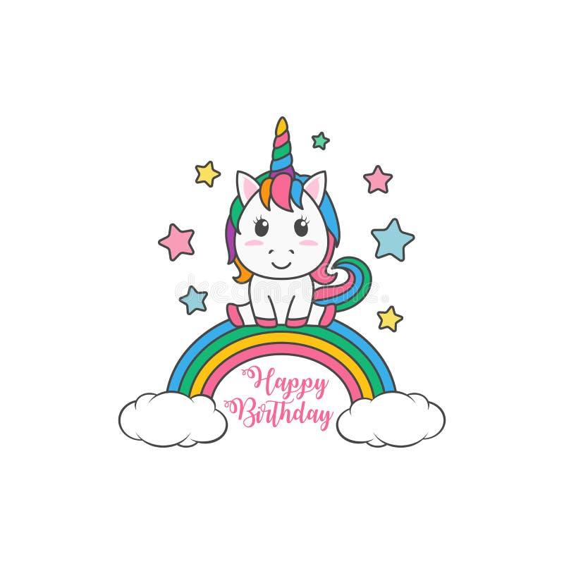 Cartão mágico do convite da ilustração do unicórnio do feliz aniversario dos desenhos animados ilustração do vetor