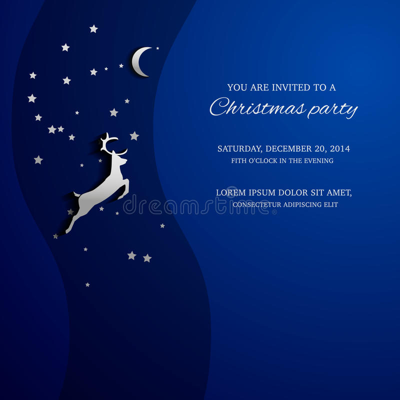 Cartão mágico do Feliz Natal com um cervo ilustração royalty free