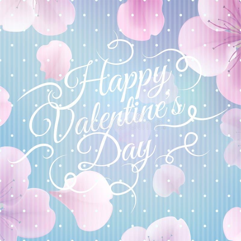 Cartão macio elegante do Valentim da cor com flores ilustração royalty free
