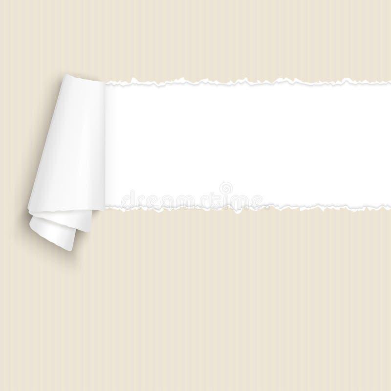Cartão marrom de papel aberto rasgado ilustração do vetor