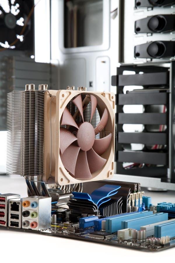 Cartão-matriz com olá! o refrigerador do processador central da extremidade imagens de stock royalty free