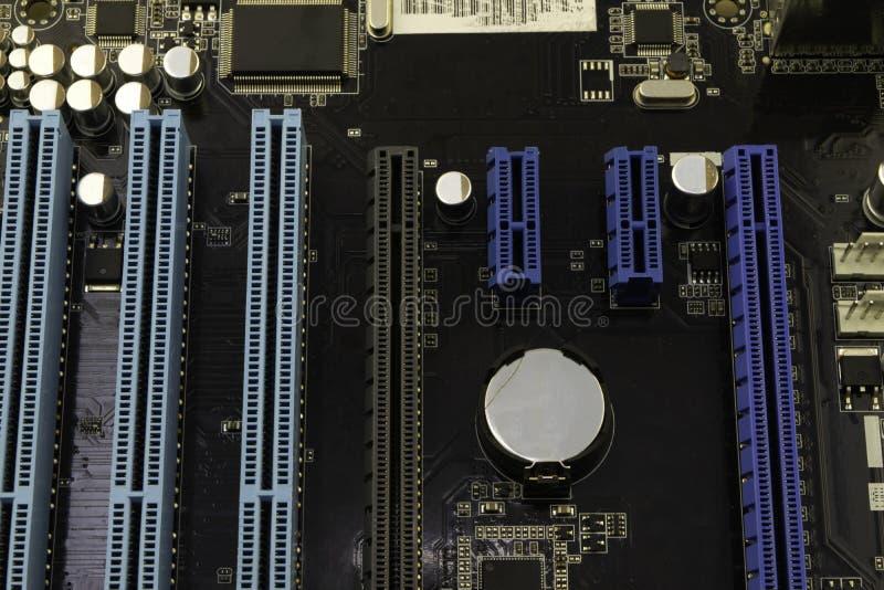 Cartão-matriz do computador, com o processador instalado nele imagem de stock royalty free