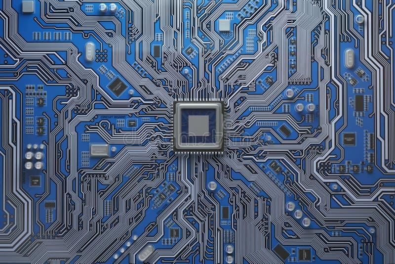 Cartão-matriz do computador com processador central Microplaqueta do sistema da placa de circuito com co ilustração royalty free