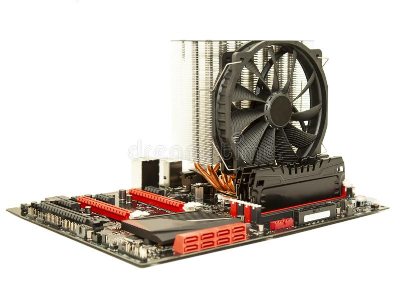 Cartão-matriz do computador com refrigerador imagens de stock