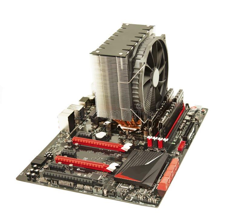 Cartão-matriz do PC do computador isolado com refrigerador imagem de stock