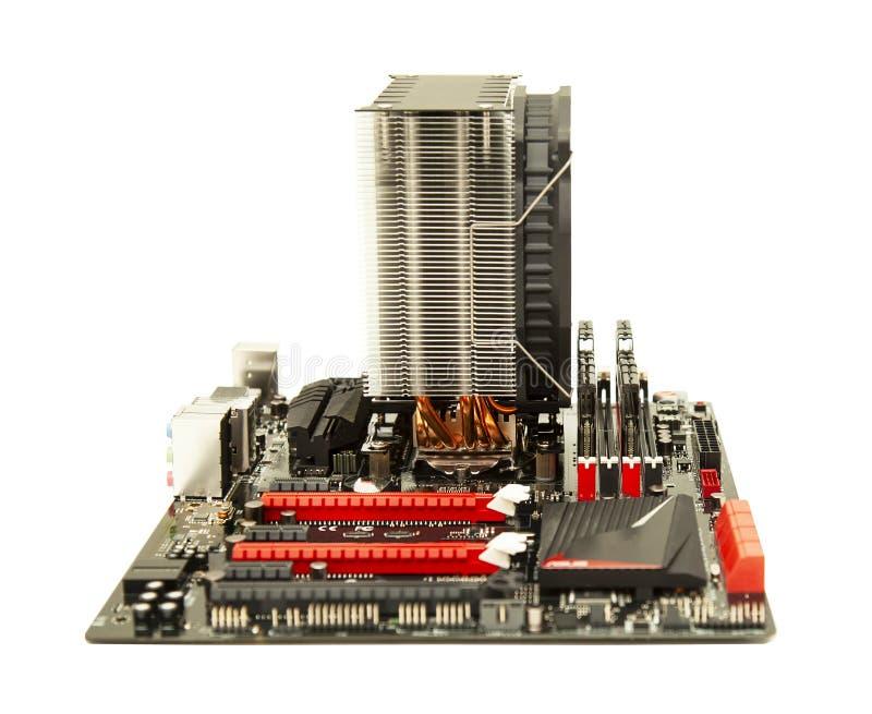 Cartão-matriz do PC do computador isolado no branco foto de stock