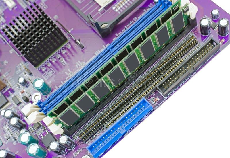 Cartão-matriz e memória de RAM fotografia de stock