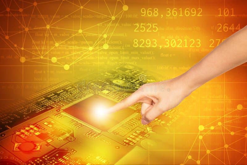 Cartão-matriz tocante do dedo dos seres humanos ilustração stock