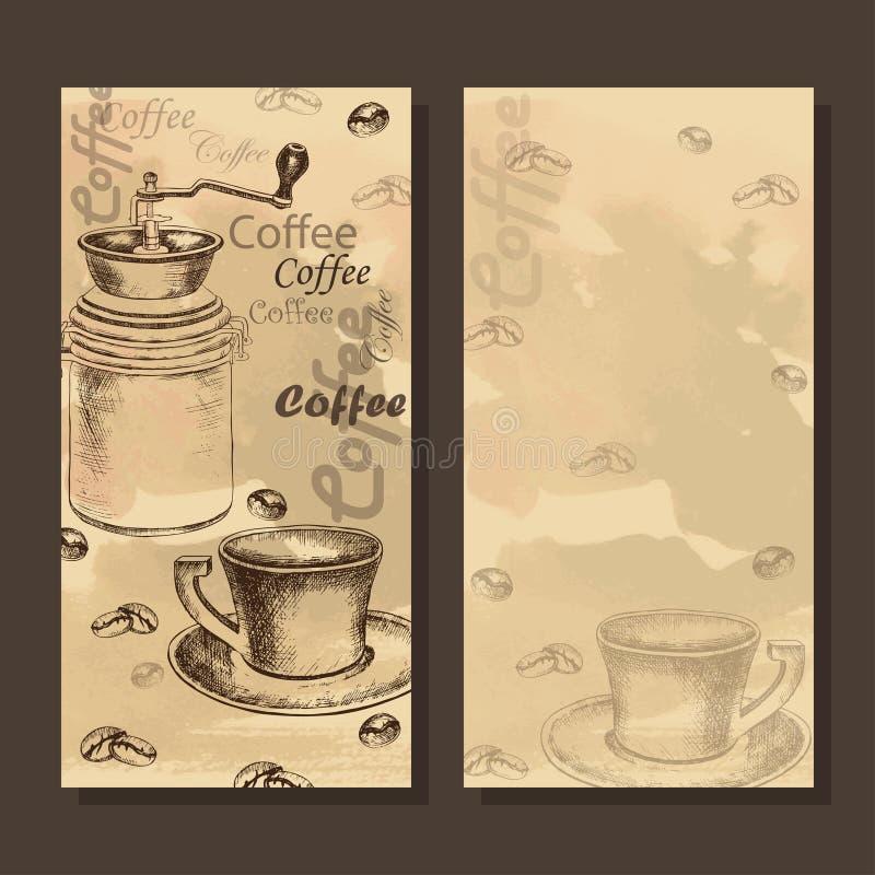 Cartão, menu com esboço do grupo do coffe ilustração royalty free