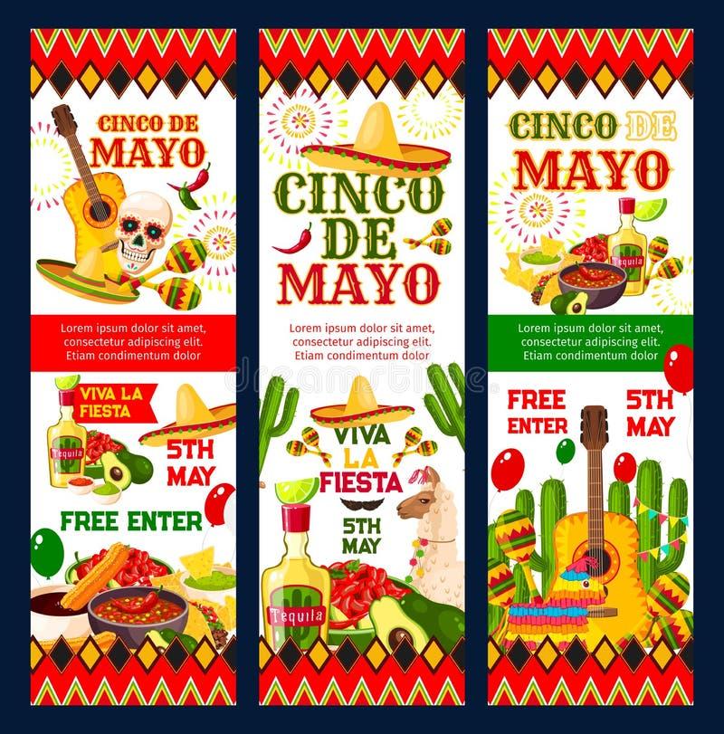 Cartão mexicano do convite do partido da festa de Cinco de Mayo ilustração stock