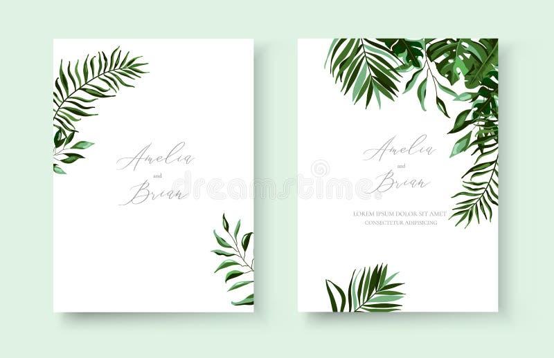 Cartão minimalista floral exótico tropical do convite das hortaliças do casamento salvo o projeto da data ilustração royalty free