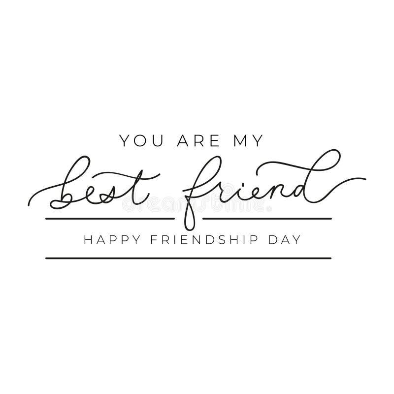 Cartão minimalistic da amizade feliz com rotulação Você é minha rotulação inspirada do melhor amigo Ilustra??o do vetor ilustração royalty free