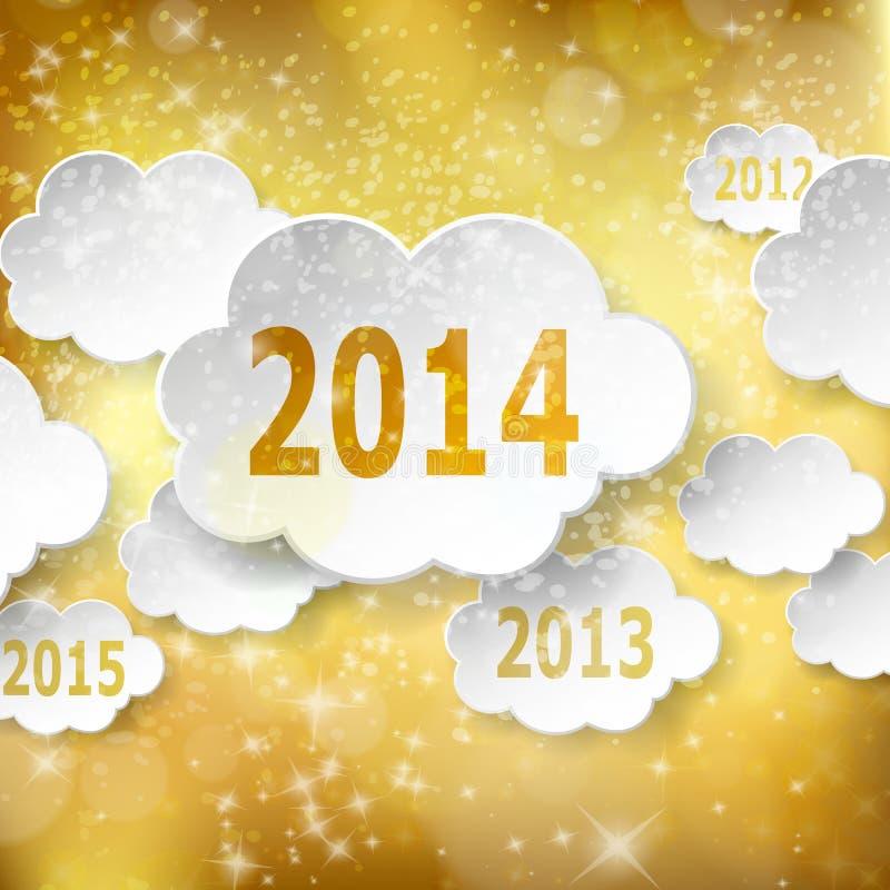 Cartão moderno do ano novo com as nuvens de papel no backgr dourado ilustração stock