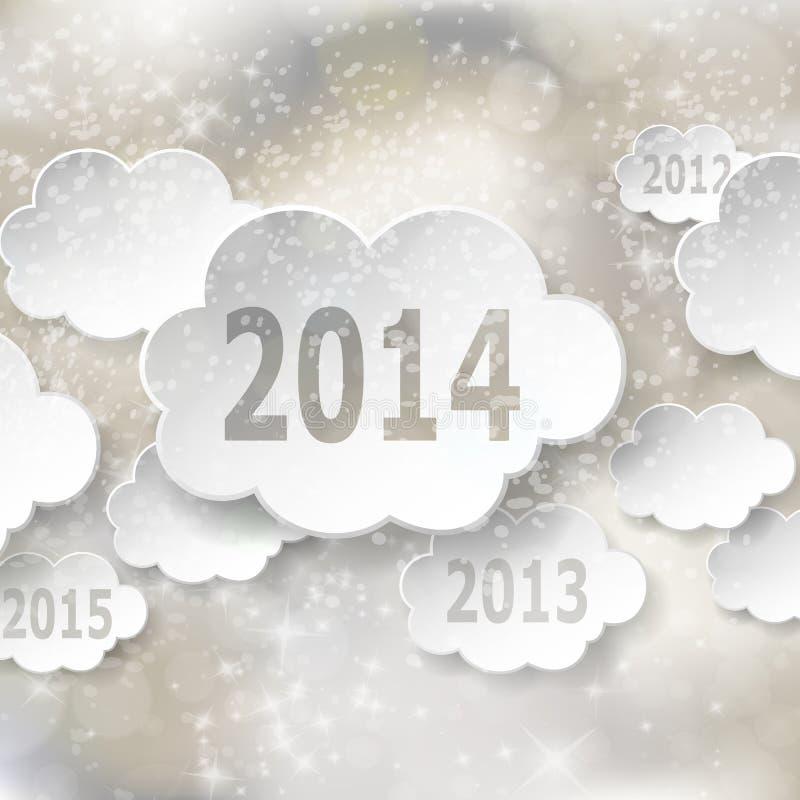 Cartão moderno do ano novo com nuvens de papel ilustração royalty free