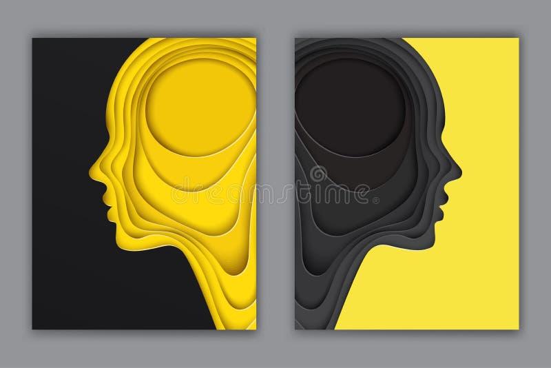 Cartão modernos com perfil cortado mergulhado do ser humano do papel colorido ilustração royalty free