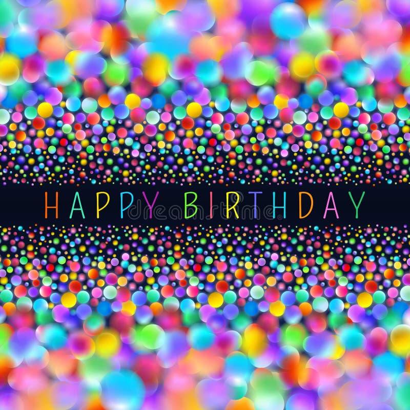 Cartão multicolorido dos feliz aniversario ilustração do vetor