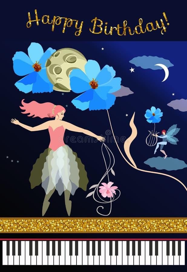 Cartão musical bonito com um lote mágico Fada com clave de sol, duende com lira, grandes flores azuis, lua, planeta, estrelas, pi ilustração stock