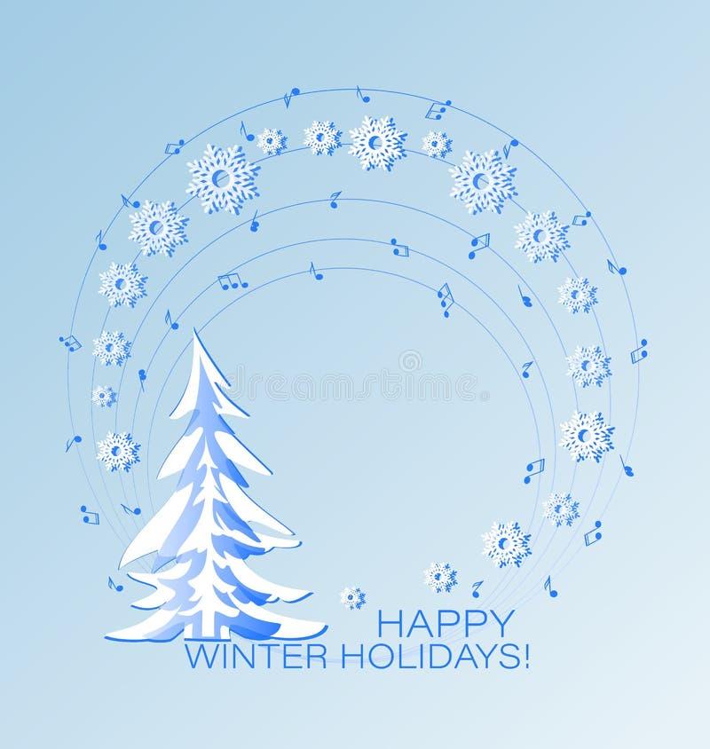Cartão musical do feriado com abeto do inverno ilustração stock