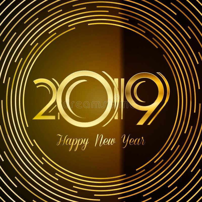 Cartão 2019 - números do ano novo feliz dourados em Backg escuro ilustração royalty free